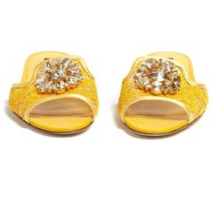 Dolce & Gabbana Bianca crystal-embellished lace slides ($705) ❤ liked on Polyvore featuring shoes, flower shoes, blossom footwear, blossom shoes, yellow shoes and glitter shoes