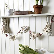 Floral Fabric Large 5 Heart Garland