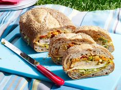 Ale-Brined Roasted-Turkey Sandwich with Red-Pepper Pesto Recipe : Guy Fieri : Food Network Picnic Sandwiches, Turkey Sandwiches, Wrap Sandwiches, Food Network Recipes, Food Processor Recipes, Cooking Recipes, Red Pepper Pesto Recipe, A Food, Good Food