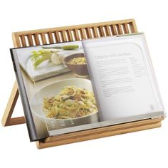 I need this recipe book stand.  It even has a splatter screen for a messy cook like me!  Made from Bamboo, $29.99
