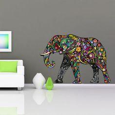 Tapeten - Wandtattoo Farbig Elephant Kunst Entwurf Aufkleber - ein Designerstück von Wall-Decals bei DaWanda