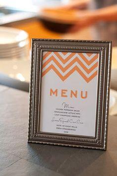 Use invitation for menu / put in frame