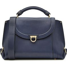 Salvatore Ferragamo Leather Tote ($1,515) ❤ liked on Polyvore featuring bags, handbags, tote bags, blue, leather handbags, blue leather tote, genuine leather tote, blue leather tote bag and blue handbags