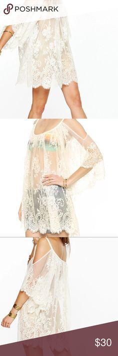BOHO Cream Lace cover-up Beautiful cream lace cold shoulder cover up!!! Boho chic! You can wear this over bathing suit or over lingerie.  One of each size. Swim Coverups
