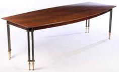 LABELED JULES LELEU MODEL N4991 DINING TABLE 1958