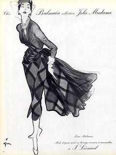 Pierre Balmain 1952 René Gruau, Fashion Illustration