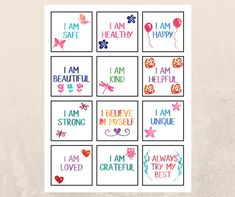 Use these affirmation cards with your kids- Just buy, print (as many times as you would like), and cut! They are great for: Laminating and using as an affirmation deck for your child to go through each morning or night To hand out to your children when they need positive encouragement Printing on sticker paper!  Holding a positive mindset about the future is one of the keys to living a life that we desire and a life that we create. Mindset matters! INCLUDED: 1 PDF page- For print - letter…