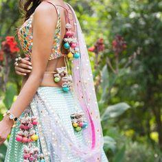 Aqua Lehenga With Glam Mirrorwork Blouse-Avnni Kapur-Fabilicious Fashion Lengha Design, Lehenga Designs, Lehnga Blouse, Ghagra Choli, Lehenga Skirt, Anarkali, Bridal Outfits, Bridal Lehenga, Indian Wear