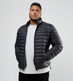 Schott PLUS Oakland Down Puffer Jacket Slim Fit in Black - Black