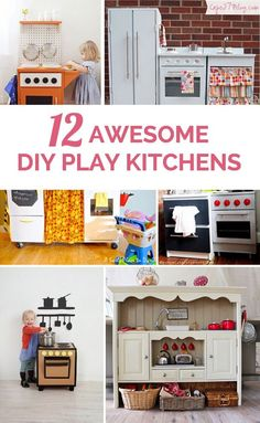 Creative ideas that turn cardboard boxes, nightstands, old dressers and more into an fun play kitchen!