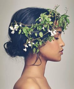 flower crown of delicate branches and greeney