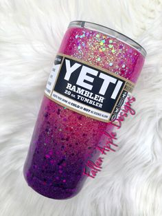 Custom Glitter & Painted Tumblers by FallenAppleDesigns Diy Tumblers, Personalized Tumblers, Custom Tumblers, Glitter Tumblers, Hydrodipping Diy, Drink Containers, Custom Bottles, Custom Cups, Yeti Cup