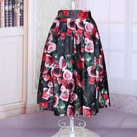 2015 new arrival summer crimp floral midi skirts for ladies A-lin printing high waist wild match pleated skirt free shipping Price: US $15.68