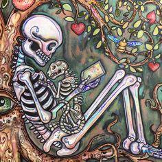 Cat Tales skeleton Day of the Dead print by Lisa Luree by bonediva on Etsy https://www.etsy.com/listing/256120852/cat-tales-skeleton-day-of-the-dead-print