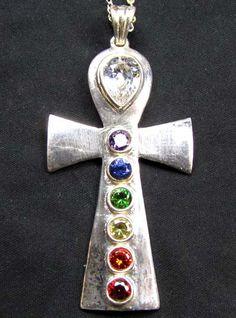 SEVEN CHAKRA  SILVER  CROSSPENDANT GT2304  gemstone jewelry , holistic jewelry, charka jewlery , charka pendnats