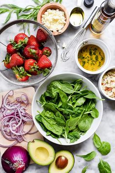 A simple balsamic dressing does double duty as a marinade for the chicken in this light and healthy, fresh avocado and strawberry spinach salad. Mexican Salad Recipes, Italian Salad Recipes, Shrimp Salad Recipes, Chopped Salad Recipes, Spinach Salad Recipes, Bean Salad Recipes, Healthy Recipes, Weeknight Recipes, Avocado Spinach Salad