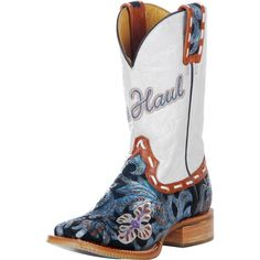 """Tin Haul """"Whip It"""" cowgirl boots. Soles have purple and turquoise roses.  LOVE!!!"""