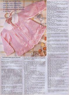 Receita Tricô Fácil : Receita Trico casaquinho Rosa Bebê