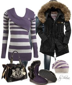 """purple stripes"" by shauna-rogers ❤ liked on Polyvore"