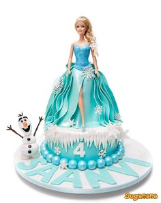 Elsa doll cake by Suganana Doll Birthday Cake, 4th Birthday Cakes, Frozen Birthday Cake, Barbie Birthday, Frozen Barbie Cake, Frozen Dolls, Frozen Cake, Frozen Party, Bolo Artificial