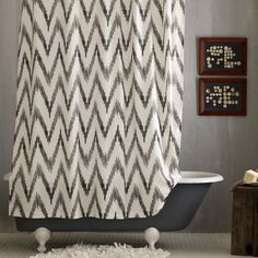 Gray Chevron | Ikat Chevron | Chevron Pattern | Bathroom | Shower Curtain | Bath Accessories