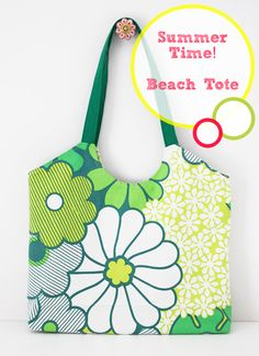 Beach tote tutorial with free sewing pattern by Happy In Red.