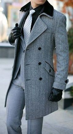 Don't forget to check out our overcoats and how to wear them. Here Are 19 chic ways to wear overcoats. overcoat is our favorite. Sharp Dressed Man, Well Dressed Men, Mode Masculine, Coat Dress, Men Dress, Frock Coat, Woman Dresses, Costume Gris, Mode Man