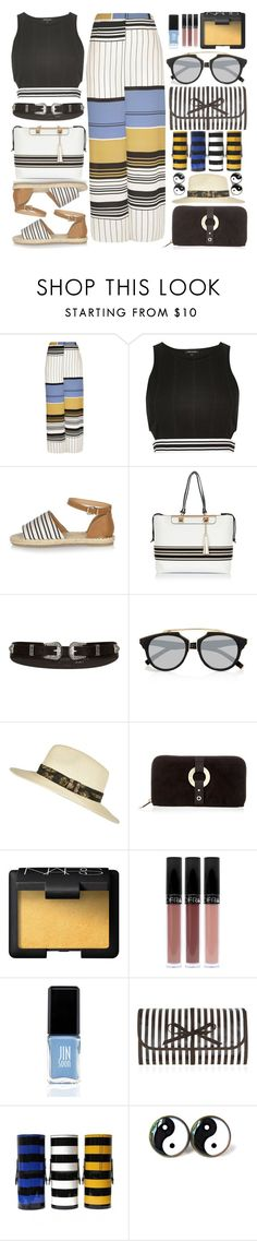 """""""stripe love"""" by shoaleh-nia ❤ liked on Polyvore featuring River Island, NARS Cosmetics, JINsoon and Henri Bendel"""