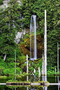 Translucent waterfall near Mt. St. Helens in Washington state.