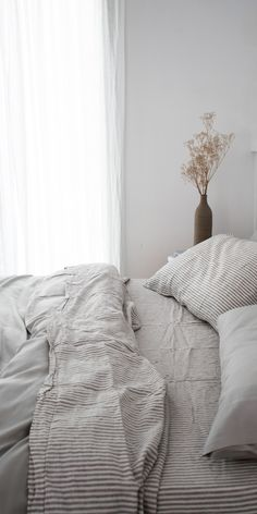 classics with our Soft Grey Striped French linen sheets and organic bamboo bedding, the most beautiful pairing.Forever classics with our Soft Grey Striped French linen sheets and organic bamboo bedding, the most beautiful pairing.