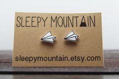 Paper Plane Earrings Hand Drawn Studs por SleepyMountain en Etsy