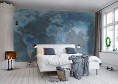Hey,+bekijk+deze+mural+van+Rebel+Walls,+World+Map,+blue!+#rebelwalls+#behang+#mural