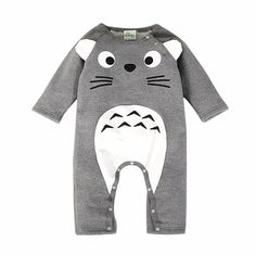 Baby/Toddler's Cotton Totoro Long-Sleeve Jumpsuit in Grey