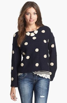 Nordstrom Elodie Embroidered Dot Sweater (Juniors)