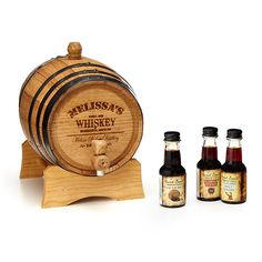 This miniature oak barrel ages whiskey to peak flavor.