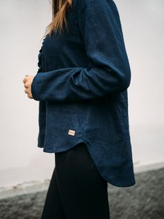 LINEN Ruffle Shirt -pellavapusero, tummansininen | PURA Finland Ruffle Shirt, Finland, Raincoat, Normcore, How To Make, Jackets, Shirts, Style, Fashion