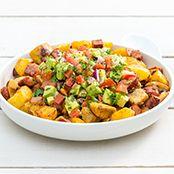 Kumara Potato and Chorizo Salad with Avocado Salsa