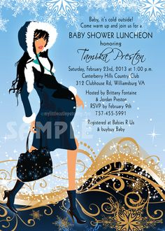 Modern Mom Winter Baby Shower Invitation: Winter Elegance Blue, Mommy to Be (Set of 20)