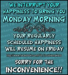 We interrupt your happiness to bring you Monday Morning. monday good morning monday humor i hate mondays monday morning monday greeting funny monday quotes monday comment Monday Morning Humor, Funny Good Morning Quotes, Monday Humor, Monday Quotes, Its Friday Quotes, Work Quotes, Daily Quotes, Funny Quotes, Morning Humor Quotes
