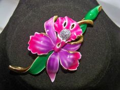 VINTAGE SIGNED JOAN RIVERS ENAMEL ORCHID PAVE CRYSTAL STATEMENT BROOCH PIN WOW #JoanRivers