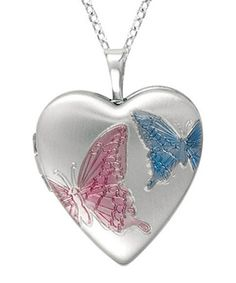 Another great find on #zulily! Silver & Blue Butterfly Heart Locket #zulilyfinds
