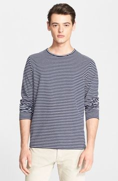 A.P.C. Stripe Cotton & Linen Long Sleeve T-Shirt available at #Nordstrom