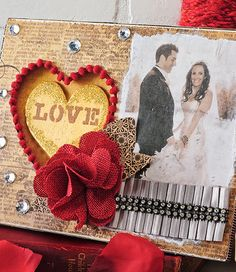 Create a romantic mixed media frame with Mod Podge photo transfer and embellishments.