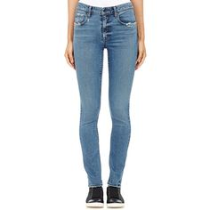 Helmut Lang Women's Distressed Skinny Jeans ($255) ❤ liked on Polyvore featuring jeans, pants, colorless, distressed denim jeans, destructed skinny jeans, blue jeans, ripped jeans and destroyed skinny jeans