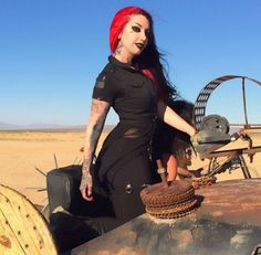 Ash costello on the set of I'm about to break you by New Years day