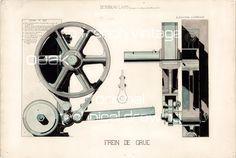 Dessin Technique Ancien, Grande Roue de Grue, Original fin 19ème, Pièce unique, Dessin au Lavis, Bréval Ingénieur, Paris, France