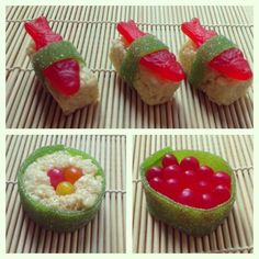 Candy sushi - Its hard to find instructions for this activity, but basically it looks like ingredients can include: --Fruit rollups --Rice krispy treats --Sweedish Fish --Jelly beans --Fruit loops, or other candy --Chopsticks