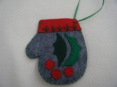 Grey Holly Leaves Felt Christmas Mitten Ornament/Gift Card Holder - HANDMADE BY ME by KraftyGrannysHome on Etsy