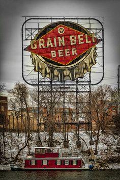 Grain Belt Beer sign. Hennepin Ave, Minneapolis, Minnesota~(Grain Belt Premium) The only beer my husband will buy!