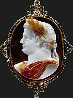 ROMAN CAMEO 1ST-3RD CE  Caesar Claudius (41-54 CE). Sardonyx, 3 layers. French frame: gold, enamel, rubies, diamonds (16th CE) Height 5.7 cm Inv. IX A 98  Kunsthistorisches Museum, Antikensammlung, Vienna, Austria